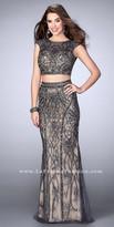 La Femme Two Piece Cap Sleeve Fully Beaded Evening Dress