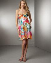 Tropical-Print Silk Dress