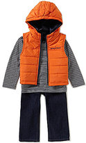 Nautica Baby Boys 12-24 Months Puffer Hooded Vest, Striped Knit Tee & Denim Jeans Set