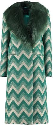 Pinko Faux Fur Collar Coat