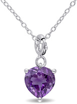 Julianna B 1 1/2 CT TW Amethyst Sterling Silver Heart Enhancer Pendant Necklace