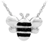 Zales ASPCA® Tender Voices® 1/10 CT. T.W. Enhanced Black Diamond Bee Pendant in Sterling Silver