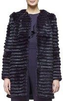 Cushnie et Ochs Open-Front Striped Fur Coat, Aubergine