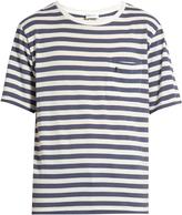 Saint Laurent Patch-pocket striped cotton-jersey T-shirt