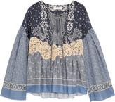 Chloé Lace-appliquéd Printed Cotton-voile Blouse - Blue