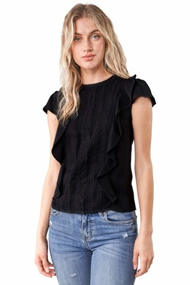 Sugar Lips Sugarlips Women's Short Sleeve Ruffle Lace Trim Blouse