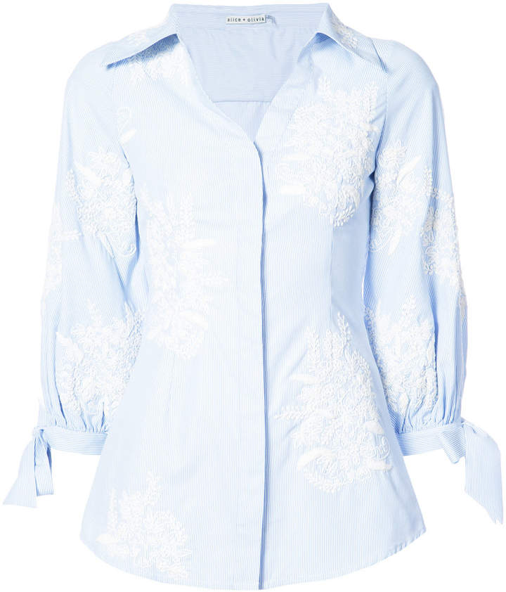 Alice + Olivia Alice+Olivia embroidered shirt with tie cuffs