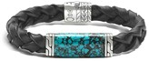 John Hardy Men's Sterling Silver Classic Chain Station Bracelet with Turquoise