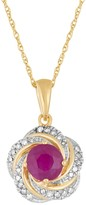10k Gold Ruby & Diamond Accent Love Knot Pendant Necklace