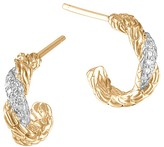 John Hardy Women's 18K Gold Classic Chain Diamond Pavé Flat Twisted Carved Chain Extra Small Hoop Earrings