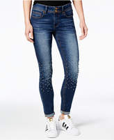 Indigo Rein Juniors' Pearl-Embellished Skinny Ankle Jeans