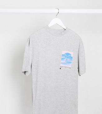Collusion Unisex t-shirt with photographic print in gray marl