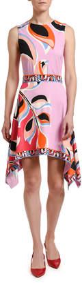 Emilio Pucci Printed Asymmetrical Flowy-Hem Dress