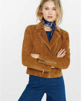 Express genuine suede moto jacket