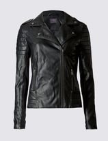 Marks and Spencer Faux Leather Stich Detail Biker Jacket