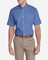 Eddie Bauer Men's Wrinkle-Free Relaxed Fit Short-Sleeve Pinpoint Oxford Shirt - Solid