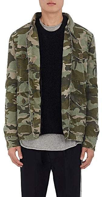 Mr & Mrs Italy Men's Fur-Lined Camouflage Cotton Field Jacket - Green