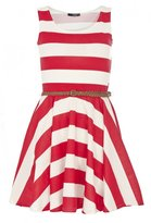 Red and White Stripe Skater Dress