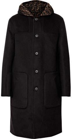 Fendi Reversible Logo-Print Virgin Wool And Silk-Blend Hooded Coat