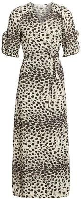 Sea Leo Animal Wrap Midi Dress