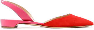 Paul Andrew Rhea Two-tone Suede And Leather Slingback Point-toe Flats