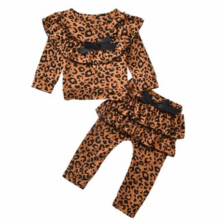 puseky 2pcs Kids Baby Girls Leopard Print Ruffled Outfits Shirt Top + Pants Clothes Set Brown