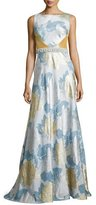 Theia Floral Brocade Gown, Silver/Gold