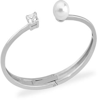 Majorica Faux Pearl l & Crystal Open Bangle Bracelet
