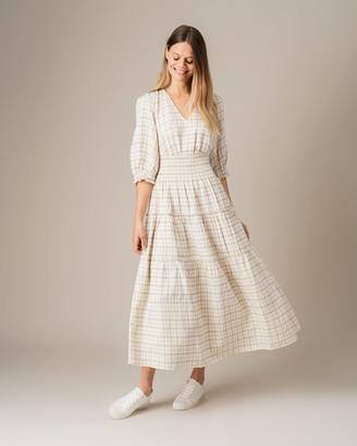 Jigsaw Pin Check Tiered Linen Blend Dress