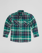Oscar de la Renta Plaid Fisherman Shirt, Green