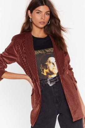 Nasty Gal Womens Nasty Says Relax Velvet Striped Blazer - Brown - 4, Brown