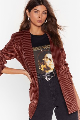 Nasty Gal Womens Nasty Says Relax Velvet Striped Blazer - Brown