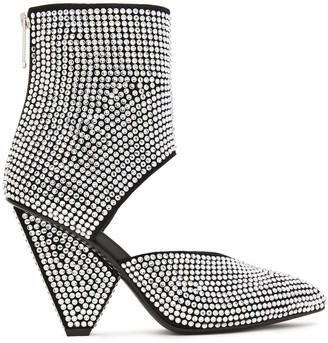 Balmain Crystal-embellished Cutout Suede Ankle Boots