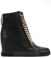 Casadei chain-trimmed wedge sneakers
