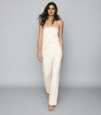 Reiss Toni - Satin Trimmed Bandeau Jumpsuit in Ivory