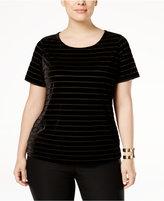 INC International Concepts Plus Size Burnout-Striped Velvet Top, Only at Macy's