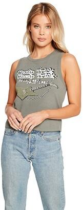 Chaser Cheap Trick: Tour 1982 Linen Rib Cropped Muscle Tank Top (Safari) Women's Clothing