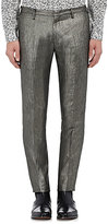 Paul Smith MEN'S COATED TWILL TROUSERS-SILVER, DARK GREY SIZE 32