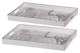 A&B Home Effra Rectangular Trays, Marbled, Set of 2