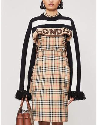 Burberry Striped fringed-trim cashmere-blend jumper