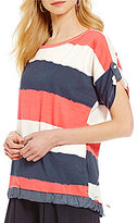 M Made in Italy Scoop Neck Short Roll-Up Sleeve Striped Sweater