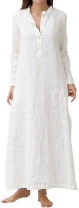 NEEDRA Dresses Women's Kaftans Ladies Maxi Dress Full Length Cotton Long Sleeve Baggy Ball Gown Pockets Party Oversized Maxi Long Dress Sales 2019 New (White UK8(Small))