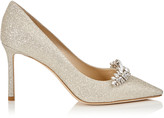 Jimmy Choo ROMY 85 Platinum Ice Dusty Glitter Pointy Toe Pumps with Crystal Tiara