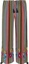Figue Goa Embroidered Striped Silk-georgette Wide-leg Pants - Navy