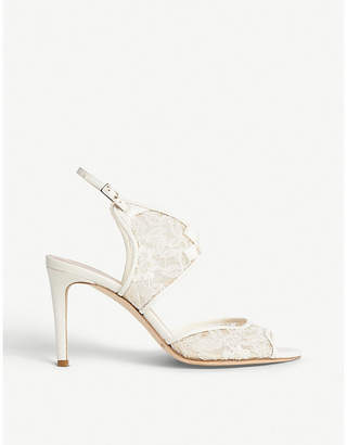 LK Bennett x Jenny Packham Cecilia lace and leather heeled sandals