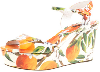 Dolce & Gabbana Orange Print Patent Leather Ankle Strap Platform Wedge Sandals Size 40.5