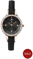 Accurist Black Dial Stone Bezel Leather Strap Ladies Watch