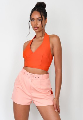 Missguided Peach Co Ord Self Fabric Belted Shorts