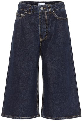 Ganni High-rise denim Bermuda shorts