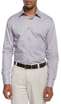 Ike Behar Chambray Check Sport Shirt, Gray